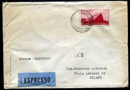 G10-109 SAN MARINO 1951 Lettera Stampe Espresso Affrancata Con Espresso 60 L., Annulli Di Transito E Di Arrivo, Buone Co - Saint-Marin