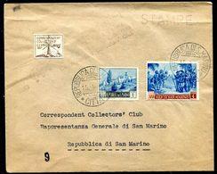 G10-104 SAN MARINO 1952 Lettera Affrancata Con Colombo 4 L + Paesaggi L. 1 E Annullo Correspondent Collectors' Club E Re - Saint-Marin