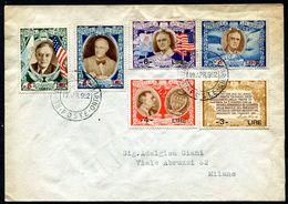 G10-100 SAN MARINO 1952 Lettera Affrancata Con Roosvelt Sovrastampati, Serie Completa, Annullo Di Arrivo, Ottime Condizi - Saint-Marin