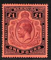 1918-22  £1 Purple And Black On Red, Watermark Multi Crown CA, With BROKEN CROWN AND SCROLL Variety, SG 55b, Very Fine M - Bermudas