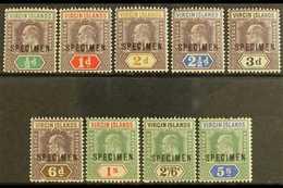 """1904  Ed VII Set Wmk MCA, Ovptd """"Specimen"""", SG 54s/62s, Fine Mint. (9 Stamps) For More Images, Please Visit Http://www.s - British Virgin Islands"""