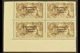 """1922  2s 6d Chocolate Brown, Corner Marginal Block Of 4, Top Right Stamp Showing The Variety """"No Accent"""", SG 64/64b, Ver - Irlande"""