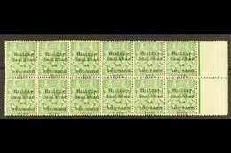 """1922 DOLLARD  ½d Green, Right Marginal Block Of Twelve (6x2), Showing Large Overprint Shift, Resulting In """"1922"""" Being A - Irlande"""