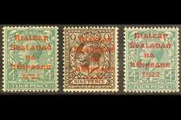 1922  Dollard Red Overprint 4d And 9d, Carmine Overprint 4d, SG 6b/c And 8b, Fine Never Hinged Mint. (3 Stamps) For More - Irlande