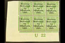 """1922  Thom Wide Setting ½d Green, Lower Left Corner """"U22"""" Plate Block Of Six, Showing Guide Blocks To Lower Left Stamp ( - Irlande"""