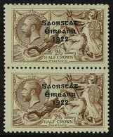 1922-23  2s6d Pale Brown Seahorse Overprint With NO ACCENT Variety (SG 64b, Hibernian T59d), In Fine Mint Vertical PAIR  - Irlande