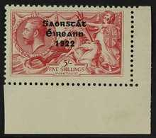 1922-23  5s Rose-carmine Seahorse Overprint With WEAK ACCENT OVER A Variety, Position R. 10/4, Hibernian T60f (SG 65 Var - Irlande