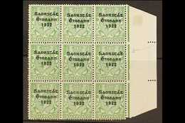1922-23 THOM SAORSTAT RARITY  ½d Green, SG 52, Right Hand Marginal Block Of Nine, Showing At 15/12 ACCENT INSERTED TWICE - Irlande