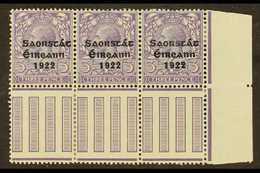 "1922-23 VARIETY  3d Bluish Lilac (SG 57) Pane Marginal Corner Strip Of 3, Incorporates ""S Over E"" Variety, Row 10, Colum - Irlande"