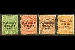"""1923  Harrison Coil Set With Long """"1"""" In """"1922"""" Varieties, SG 67/70a, Good To Fine Used, The 1½d With Few Trimmed Perfs. - Irlande"""