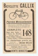 PUB PUBLICITÉ 1913 - BICYCLETTE GALLIX ROUE LIBRE EADIE FREINS BOWDEN PNEUS CLIPPER DUNLOP - BIKE - Advertising