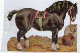 Chromo Decoupis Ancien Cheval  Hauteur 10 Cms Sur 14 Cms - Animals