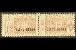 "JUBALAND  PARCEL POST 1925 12L Red-brown ""OLTRE GIUBA"" Overprint (Sassone 11, SG P26), Fine Mint Horizontal Pair, Centre - Italie"