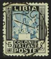LIBYA  1924-40 5L Blue & Black Pictorial No Wmk Perf 11 (Sassone 144, SG 60a), Very Fine Used Cds Used, Full Perfs, Fres - Italie