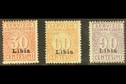 LIBYA  SERVIZIO COMMISSIONI 1915 Overprints Complete Set, Sassone 1/3, Fine Mint. (3 Stamps) For More Images, Please Vis - Italie