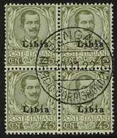 "SOMALIA  1917-18 45c Olive-green King Overprint (Sassone 18, SG 11), Superb Cds Used BLOCK Of 4 With Full Central ""Benga - Italie"