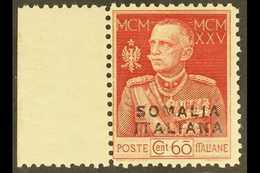 SOMALIA  1925-26 60c Lake-red Royal Jubilee Overprint Perf 11 With Watermark Crown Variety, Sassone 67f (SG 66B Var), Ne - Italie