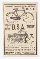 PUB PUBLICITÉ 1913 - BICYCLETTE B.S.A. BSA TYPE ROUTIERE MOYEU MOTO 2 VITESSES - BIKE MOTORBIKE - Advertising