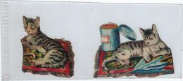 Chromo Decoupis Ancien   2 Chats  Hauteur   Hauteur 4 Cms Environs - Animals