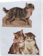 Chromo Decoupis Ancien   2 Chats  Hauteur   Hauteur 8 Cms Environs Chaque - Animals