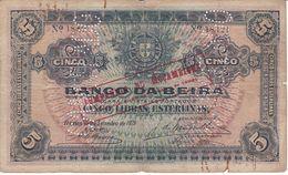 BILLETE DE MOZAMBIQUE DE 5 LIBRAS ESTERLINAS DEL AÑO 1919 (BANCO DA BEIRA) TALADRO: CANCELADO  (BANKNOTE) - Mozambique