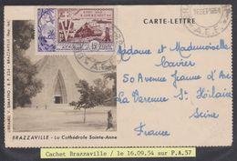 CARTE LETTRE De Brazzaville Pour La Varenne St Hilaire Le 16-09-54 (timbre N° PA 57) / Départ 1 € - Storia Postale