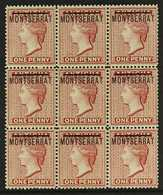 1876  1d Red, Watermark Reversed, SG 1x, A Fine Mint Block Of Nine, With Three Being Never Hinged, A Rare Classic Multip - Montserrat
