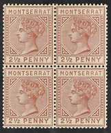 1884-85  2½d Red Brown, Wmk CA, Perf 14, SG 9, Mint Block Of 4 With Evenly Toned Gum (the Lower Pair Never Hinged), Some - Montserrat