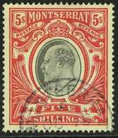 1903  5s Black And Scarlet, Wmk CC, ED VII, SG 23, Very Fine Used For More Images, Please Visit Http://www.sandafayre.c - Montserrat