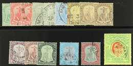1908  Complete Set Including 3d On White Back And 6d Shades, Wmk MCA, SG 35/47, 40a, 43a, Very Fine Used. (12 Stamps) Fo - Montserrat