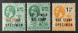 "1917-19  War Tax Set, Overprinted ""SPECIMEN"", SG 60/62s, Fine Mint. (3 Stamps) For More Images, Please Visit Http://www. - Montserrat"