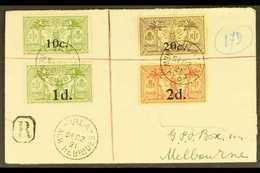 FRENCH  1921 Registered Cover To Melbourne Franked 10c On 5d And 20c On 30c, SG F36/7 Together With 1d On 5d And 2d On 4 - New Hebrides