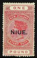 1918-29  £1 Rose-carmine Postal Fiscal, SG 37, Fine Mint. For More Images, Please Visit Http://www.sandafayre.com/itemde - Niue