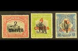 1916  Surcharges Set, SG 186/188, Fine Mint. (3) For More Images, Please Visit Http://www.sandafayre.com/itemdetails.asp - North Borneo (...-1963)