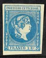 1863  2r Blue, Imperf, SG 22, Superb Mint With Large Part Og And Huge Margins All Round. Sign Bloch. Scarce And Beautifu - Filipinas