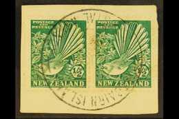 "1935  ½d Bright Green Fantail, Horiz Pair Tied To A Piece By Full ""PITCAIRN ISLAND"" Cancel (date Not Readable), SG Z22.  - Briefmarken"