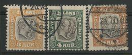 ISLANDE ICELAND COTE 18 € TIMBRES DE SERVICES N° 24 à 26 Oblitérés - Dienstpost