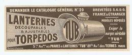PUB PUBLICITÉ 1913 - LANTERNES DÉCOUPABLES Et AJUSTABLES Pour TORPEDOS - Sté Des PHARES AVENUE Des TERNES PARIS - Advertising