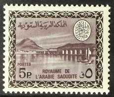 1968-76  Wadi Hanifa Dam (King Faisal Cartouche, With Watermark) 5p Black And Dark Violet (Scott 465, SG 782), Never Hin - Arabie Saoudite
