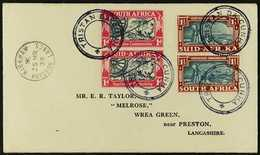1939  1939 Cover To England Bearing South Africa Voortrekker Commemoration 1d & 1½d Vertical Pairs Tied By Tristan Da Cu - Tristan Da Cunha