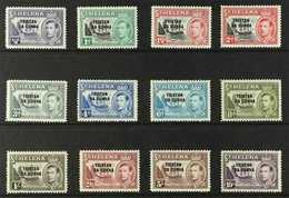 1952  St Helena Overprinted KGVI Definitives Complete Set, SG 1/12, Never Hinged Mint. (12 Stamps) For More Images, Plea - Tristan Da Cunha