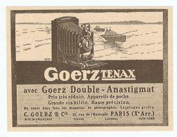 PUB PUBLICITÉ 1913 - APPAREIL PHOTO GOERZ DOUBLE TENAX - APPAREIL De POCHE - RUE DE L'ENTREPOT PARIS - LONDRES NEW YORK - Advertising