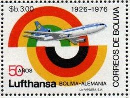 Bolivia 1976 ** CEFIBOL 1032 ** 50 Años De La Línea Aérea LUFTHANSA. - Bolivia