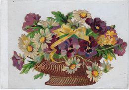 Chromo Decoupis Ancien   Fleur Hauteur 9 Sur 14 Cms Environs - Fleurs
