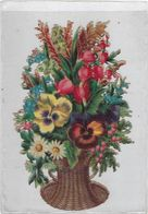 Chromo Decoupis Ancien   Fleur Hauteur 14 Sur 9 Cms Environs - Fleurs