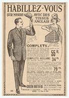PUB PUBLICITÉ 1913 - VETEMENTS MODE CURZON BROTHERS 130 Rue De RIVOLI - BRUXELLES LIEGE ANVERS - FASHION CLOTHES - Advertising