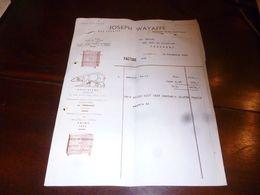 FF1 Document  Facture Joseph Wayaffe Bruxelles 1952 Dessin Ours Blanc - Belgien