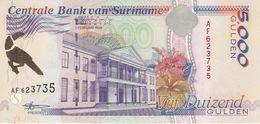 BILLETE DE SURINAM DE 5000 GULDEN DEL AÑO 1999  SIN CIRCULAR-UNCIRCULATED (PAJARO-BIRD) (BANKNOTE) - Suriname