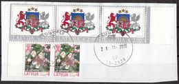 Lettonia 2013-2019 Coat Of Arms Stemma Fiori Flowers Used Frammento Lettland Latvija - Letland