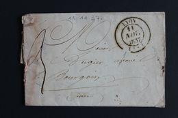 1837 LAC LYON POUR BOURGOIN CAD TYPE 14 DU 11/11/1837 TAXE MANUSCRITE 3DECIMES CAD ARRIVEE TYPE 12  DU 12/11/18/37. - 1801-1848: Vorläufer XIX